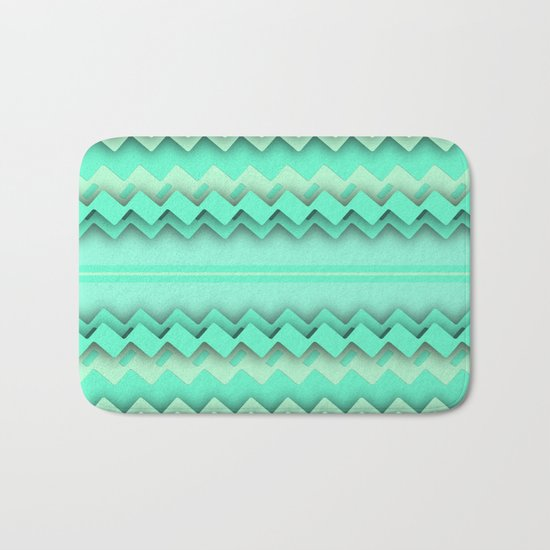 Mint paper zigzag Bath Mat