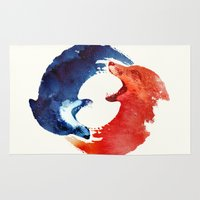 jesus Area & Throw Rugs featuring Ying yang by Robert Farkas
