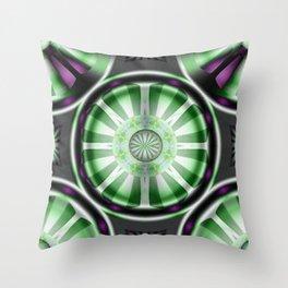 Pinwheel Hubcap in Green Throw Pillow