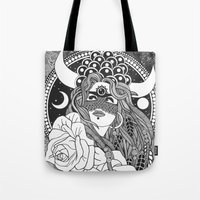taurus Tote Bags featuring Taurus by Jadranka Lacković / ojoMAGico