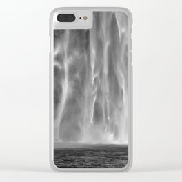 Taughannock Falls Waterfalls B&W Clear iPhone Case