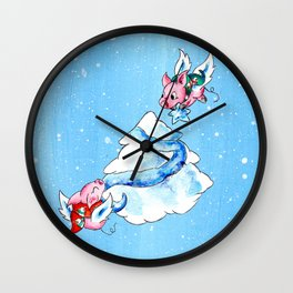 Tree Trimming in the Clouds Wall Clock
