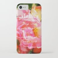 bible verse iPhone & iPod Cases featuring Roses - Verse by Anita Faye