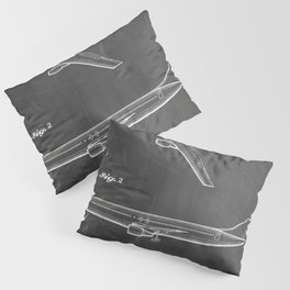 Boeing 777 Airliner Patent - 777 Airplane Art - Black Chalkboard Pillow Sham