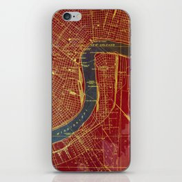 09-New Orleans Louisiana 1932, red and blue old map iPhone Skin