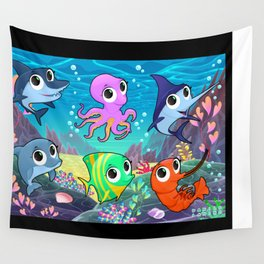 Funny marine animals in the sea Wall Tapestry