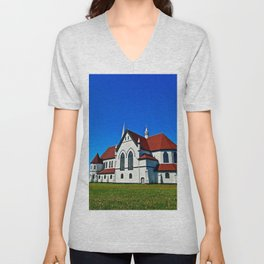 St. Mary's Church rear view Unisex V-Neck
