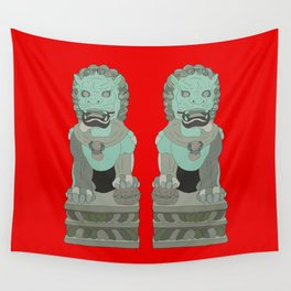 Lion Statues Wall Tapestry