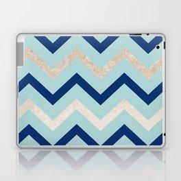 Marine zig zag - golden gradient turquoise Laptop & iPad Skin