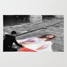 Street Art in Bologna Black and White Photography Color Rug