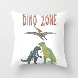 Dino Zone, dinosaurs world, prehistoric Throw Pillow