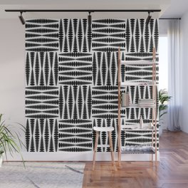 Strict squares of elongated curly rhombs in monochrome. Wall Mural