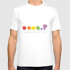 rainbow fruits for equality MEDIUM Mens Fitted Tee White
