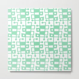 Mid Century Modern Abstract 213 Mint Green Metal Print