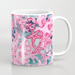 Pink Starfish and coral watercolor reef Coffee Mug