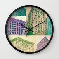 buildings Wall Clocks featuring Buildings by Sarah Brust