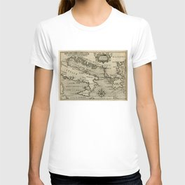 Vintage Map of Italy and Greece (1587) T-shirt