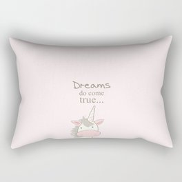 Dreams do come true art print, unicorn print, art for kids, art for baby, kids room decor Rectangular Pillow