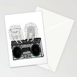 Hedgehogs on Boombox Stationery Cards