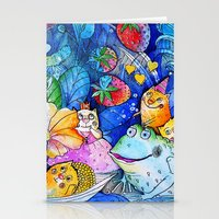 fairies Stationery Cards featuring Fairies Cats by oxana zaika