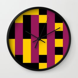 A lot of rectangles, all put in a way that it seems it is a 3d thing, but it's 2d, purple carpet. Wall Clock