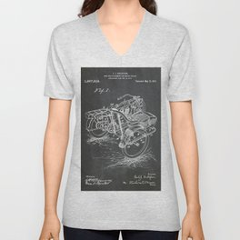 1918 C. J. Gustafson Motorcycle with Side Car Black Patent Version Unisex V-Neck
