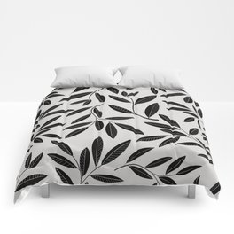 Black and White Plant Leaves Pattern Comforters