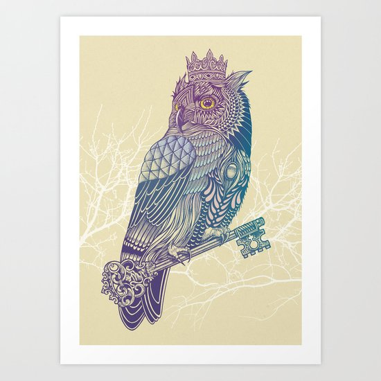Owl King Color Art Print