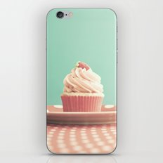 Pastel strawberry cupcake on Polka Dots Table  iPhone & iPod Skin