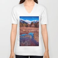rustic V-neck T-shirts featuring Rustic by Jonah Anderson