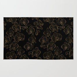 Flowers orchids ornament gold Rug