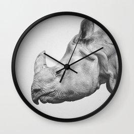 Rhino Art   Minimalism   Black and White   Animal Photography Wall Clock