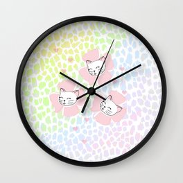 Pink Petal Kittens Wall Clock