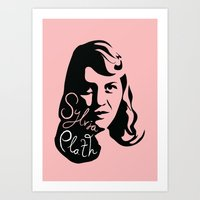 sylvia plath Art Prints featuring Sylvia Plath by lucylovesthis