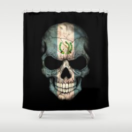 Dark Skull with Flag of Guatemala Shower Curtain