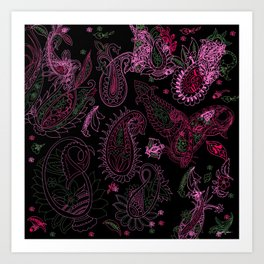 Pink Roses in Anzures 1 Paisley 2 Art Print