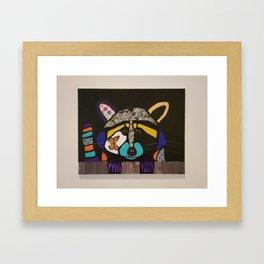 pop art raccoon Framed Art Print