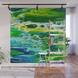 Blue waves and green grass Wall Mural