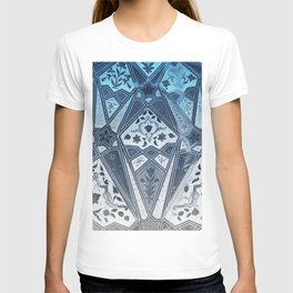 Indian wall Painting Mosaic Flowers - blue T-shirt