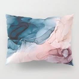 Pastel Plum, Deep Blue, Blush and Gold Abstract Painting Pillow Sham