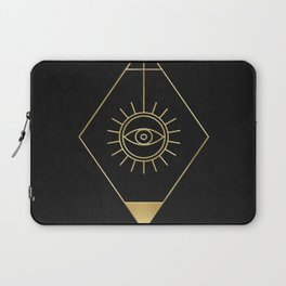Mystic Eye Symbol Gold And Black Laptop Sleeve