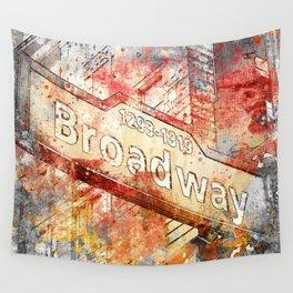 Broadway street sign mixed media art Wall Tapestry
