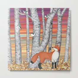 nuthatches and fox in the birch forest Metal Print