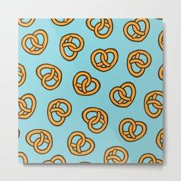 I Heart Pretzels Pattern Metal Print