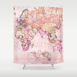 Vintage Map Pattern Shower Curtain