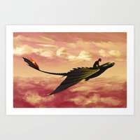 hiccup Art Prints featuring Flying - Hiccup and Toothless by BBANDITT