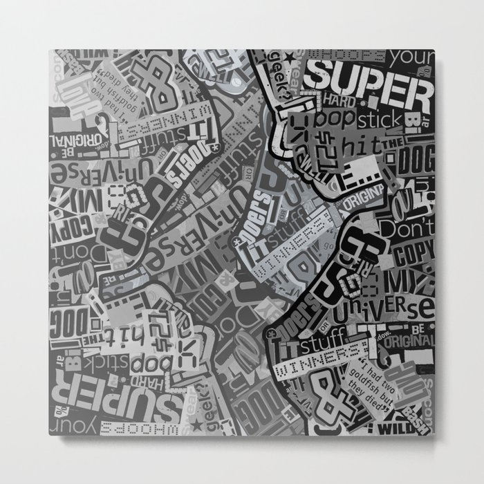Black and White Typography Collage Metal Print