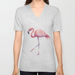 Flamingo Watercolor Pink Bird Unisex V-Neck