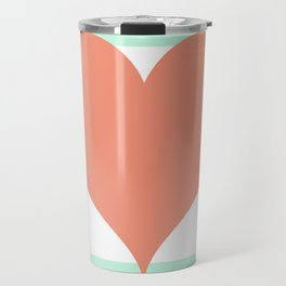 Large Heart on Stripes in Coral and Mint Travel Mug