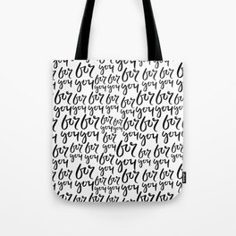 Simple black white minimal for you modern handwritten typography Tote Bag